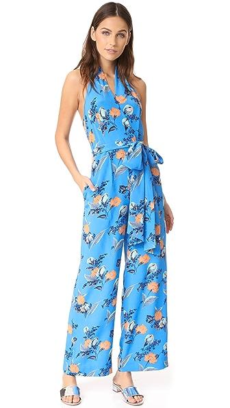 Diane von Furstenberg Sleeveless Halter Neck Jumpsuit - Silese Tile Blue