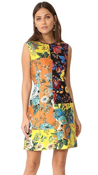 Diane von Furstenberg Sleeveless Tailored Dress In Bournier Acid Yellow/Bournier