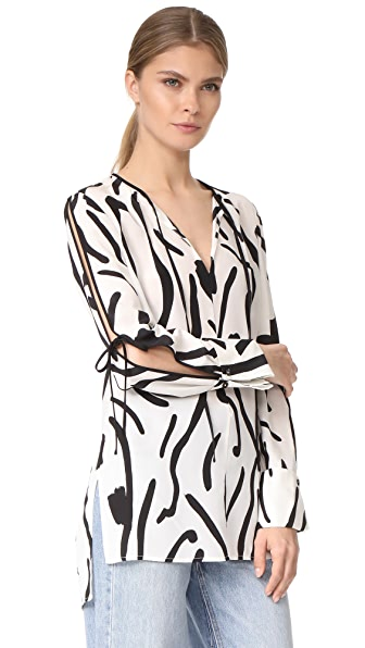 Diane von Furstenberg Блуза с каплевидным вырезом на завязках