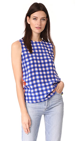 Diane von Furstenberg Sleeveless Shell Top - Cossier Large Klein Blue