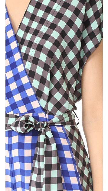 Diane von Furstenberg Short Sleeve Wrap Romper