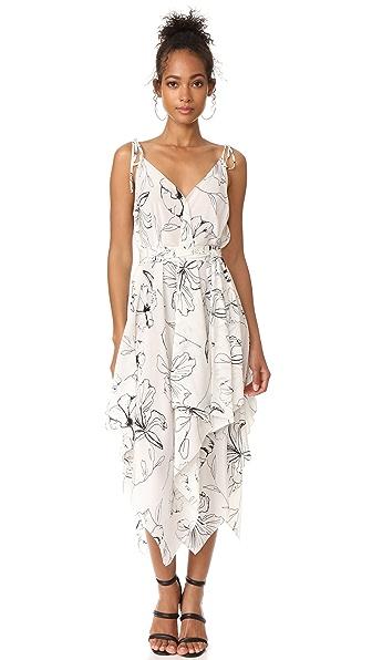 Diane von Furstenberg Sleeveless New Scarf Hem Midi Dress In Pelier Ivory