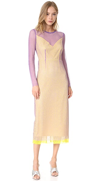 Diane von Furstenberg L/S Crewneck Two Layered Dress - Violet/Acid Yellow/Iris