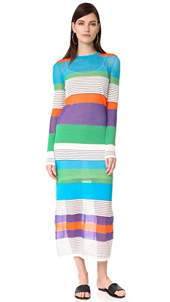 Diane von Furstenberg Knit Colorblock Dress - Azuro Combo