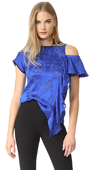 Diane von Furstenberg Side Ruffle Shirt - Klein Blue/Midnight