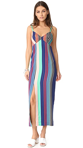 Diane von Furstenberg Side Slit Dress In Burman Stripe Multi