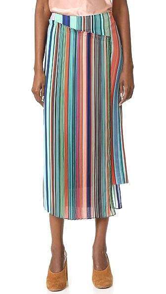 Diane von Furstenberg Overlay Skirt In Burman Stripe Multi