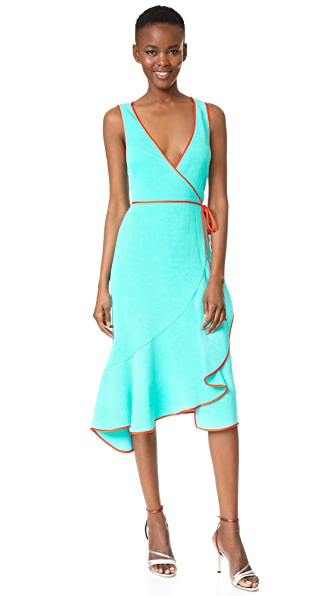 Diane von Furstenberg Asymmetric Ruffle Hem Dress - Bright Aqua/Bold Red