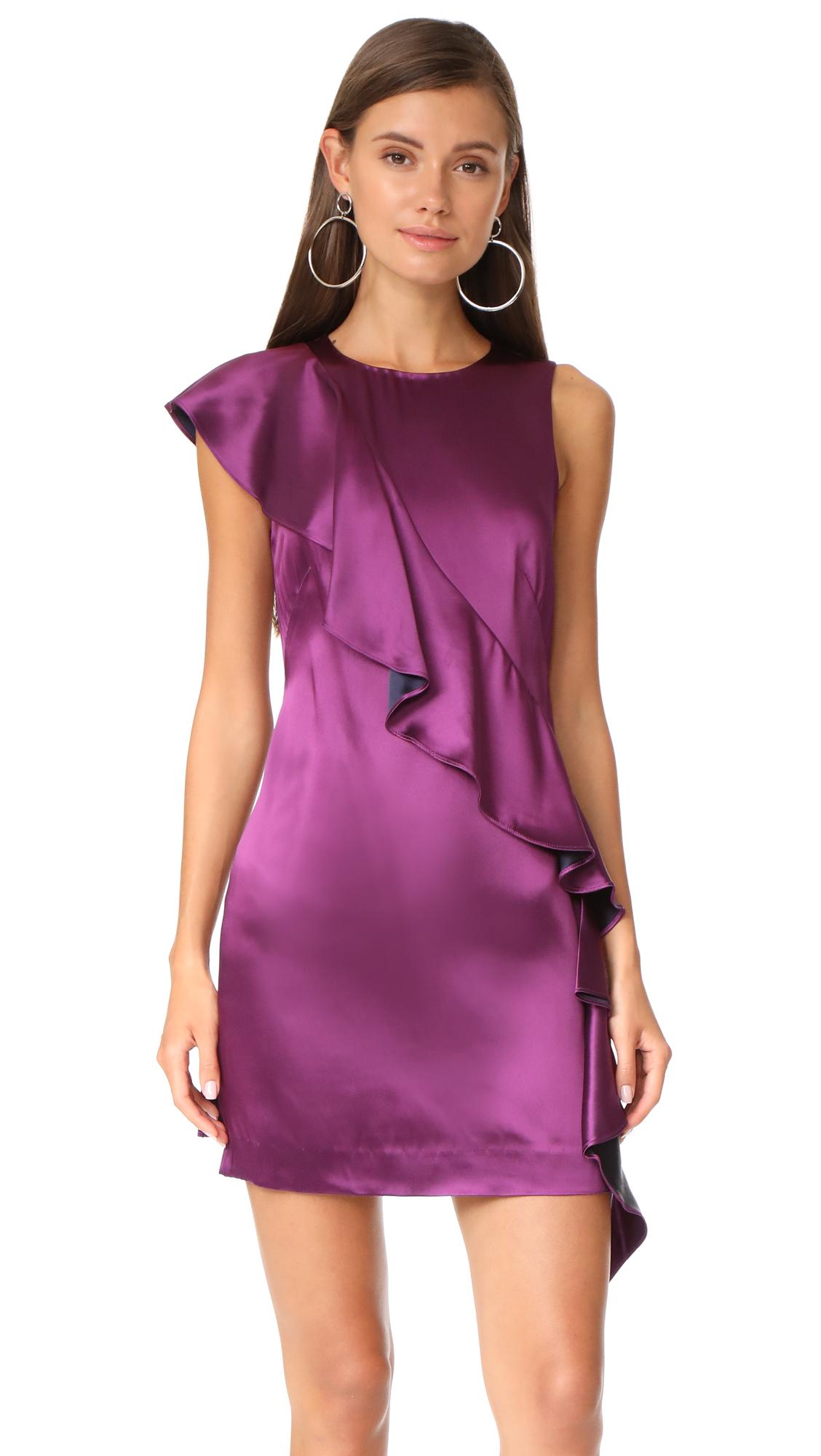 Diane von Furstenberg Sleeveless Cross Body Ruffle Dress - Aubergine/Midnight