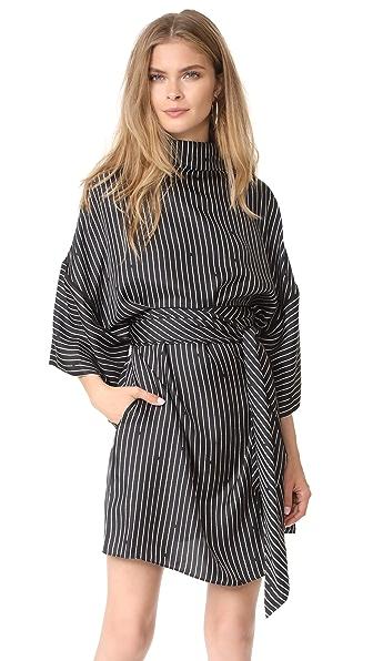 Diane von Furstenberg V Neck Tie Front Blouse - Larson Black/Black