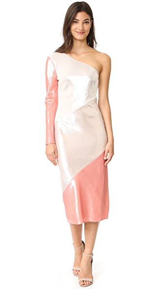 Diane von Furstenberg One Shoulder Bias Midi Dress In Ivory/Light Frappe/Deep Rose