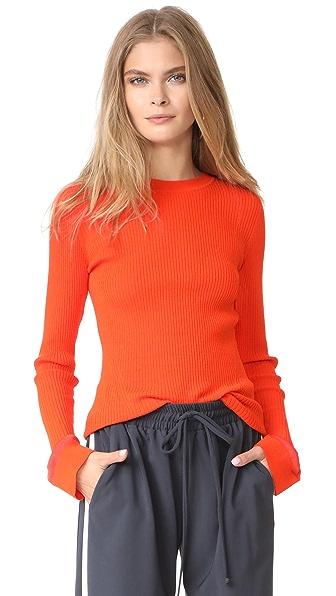 Diane von Furstenberg Crew Neck Fitted Sweater - Bold Red