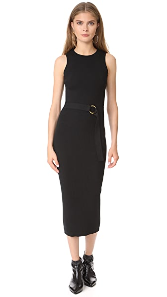 Diane von Furstenberg Sleeveless Knit Belted Dress - Black