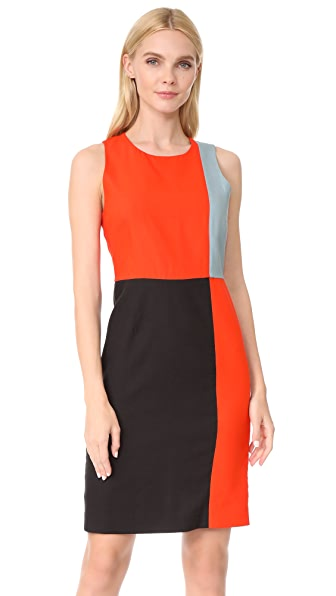 Diane von Furstenberg Sleeveless Paneled Tailored Dress In Bold Red/Black/Slate Blue