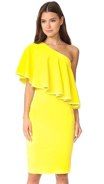 Diane von Furstenberg One Shoulder Ruffle Front Dress In Acid Yellow/Ivory