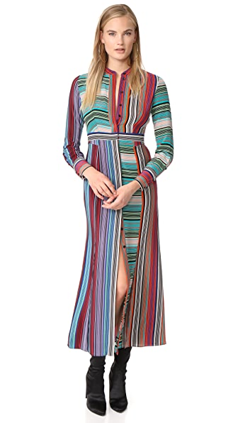 Diane von Furstenberg Collared Flare Shirt Dress - Burman Stripe Multi