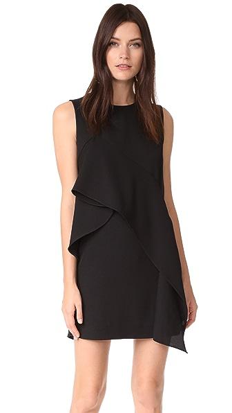 Diane von Furstenberg Ruffle Front Mini Dress - Black