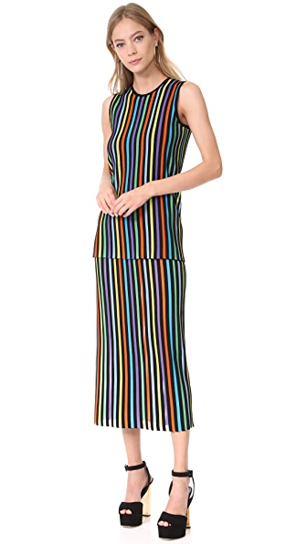Diane von Furstenberg Sleeveless Two Tiered Knit Dress - Azuro Combo