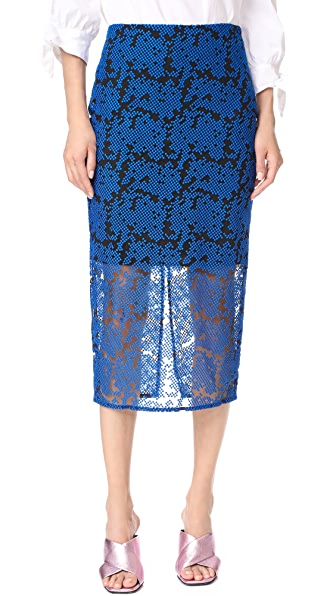 Diane von Furstenberg Overlay Tailored Pencil Skirt - Klein Blue/Black