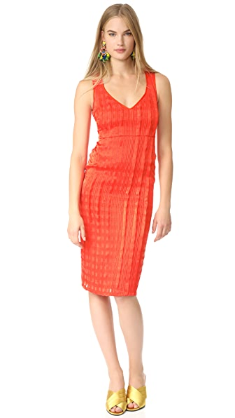 Diane von Furstenberg Sleeveless V Neck Tailored Midi Dress In Bold Red