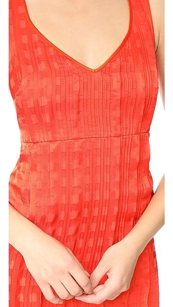 Diane von Furstenberg Sleeveless V Neck Tailored Midi Dress