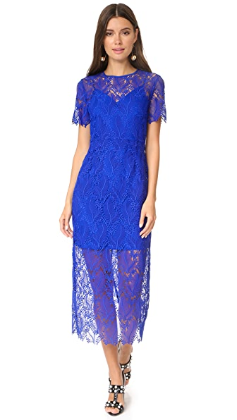 Diane von Furstenberg Tailored Overlay Midi Dress - Klein Blue/Klein Blue