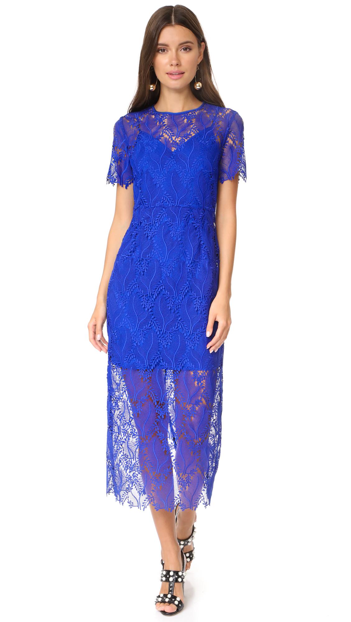 Diane von Furstenberg Tailored Overlay Midi Dress - Klein Blue/Klein Blue