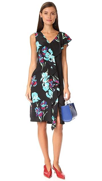 Diane von Furstenberg Sleeveless Side Ruffle Dress