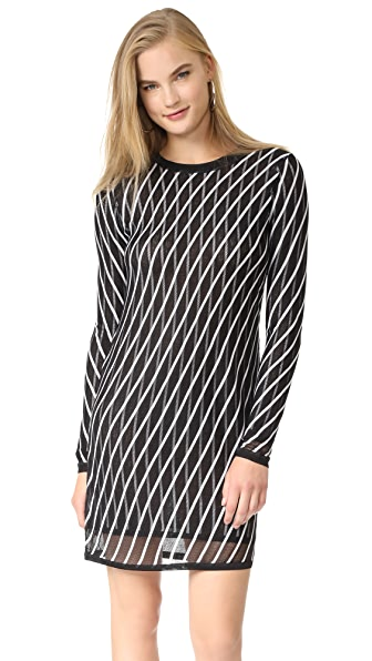 Diane von Furstenberg Crew Neck Knit Dress - Ivory/Black
