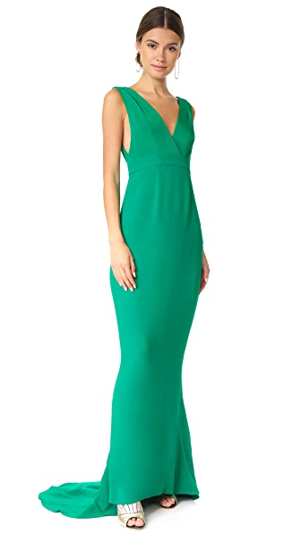 Diane von Furstenberg Sleeveless Deep V Tailored Gown In Green