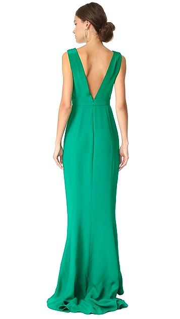 Diane von Furstenberg Sleeveless Deep V Tailored Gown