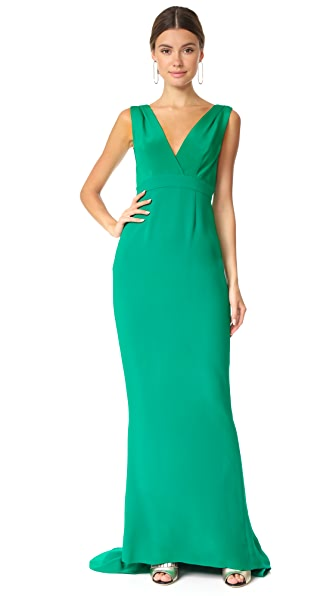 Diane von Furstenberg Sleeveless Deep V Tailored Gown