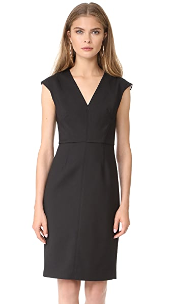Diane von Furstenberg Cap Sleeve V Neck Dress In Black