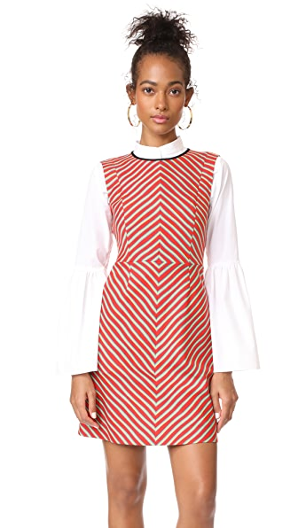 Diane von Furstenberg Sleeveless Tailored Shift Dress - Bodin Stripe Bright Red/Black
