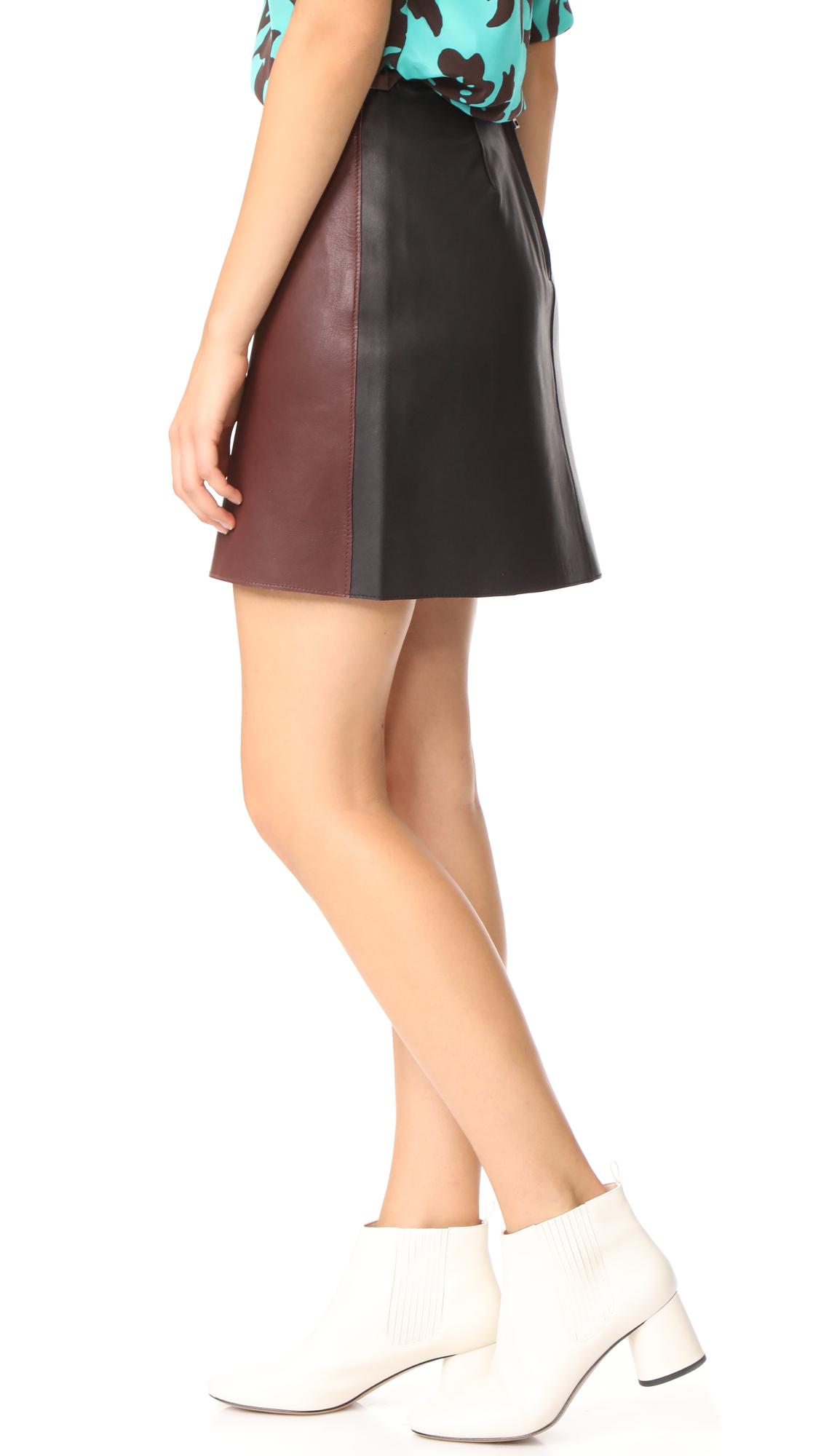 Diane von Furstenberg Jenny Leather Miniskirt - Chestnut/Black