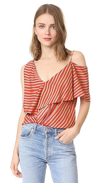 Diane von Furstenberg Asymmetrical Sleeve Ruffle Front Top - Bodin Stripe Bright Red