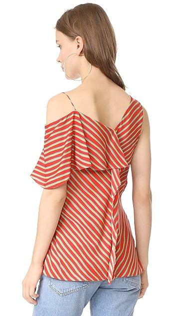 Diane von Furstenberg Asymmetrical Sleeve Ruffle Front Top