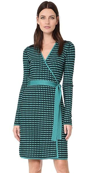 Diane von Furstenberg Banded Knit Wrap Dress - Aquamarine/Black