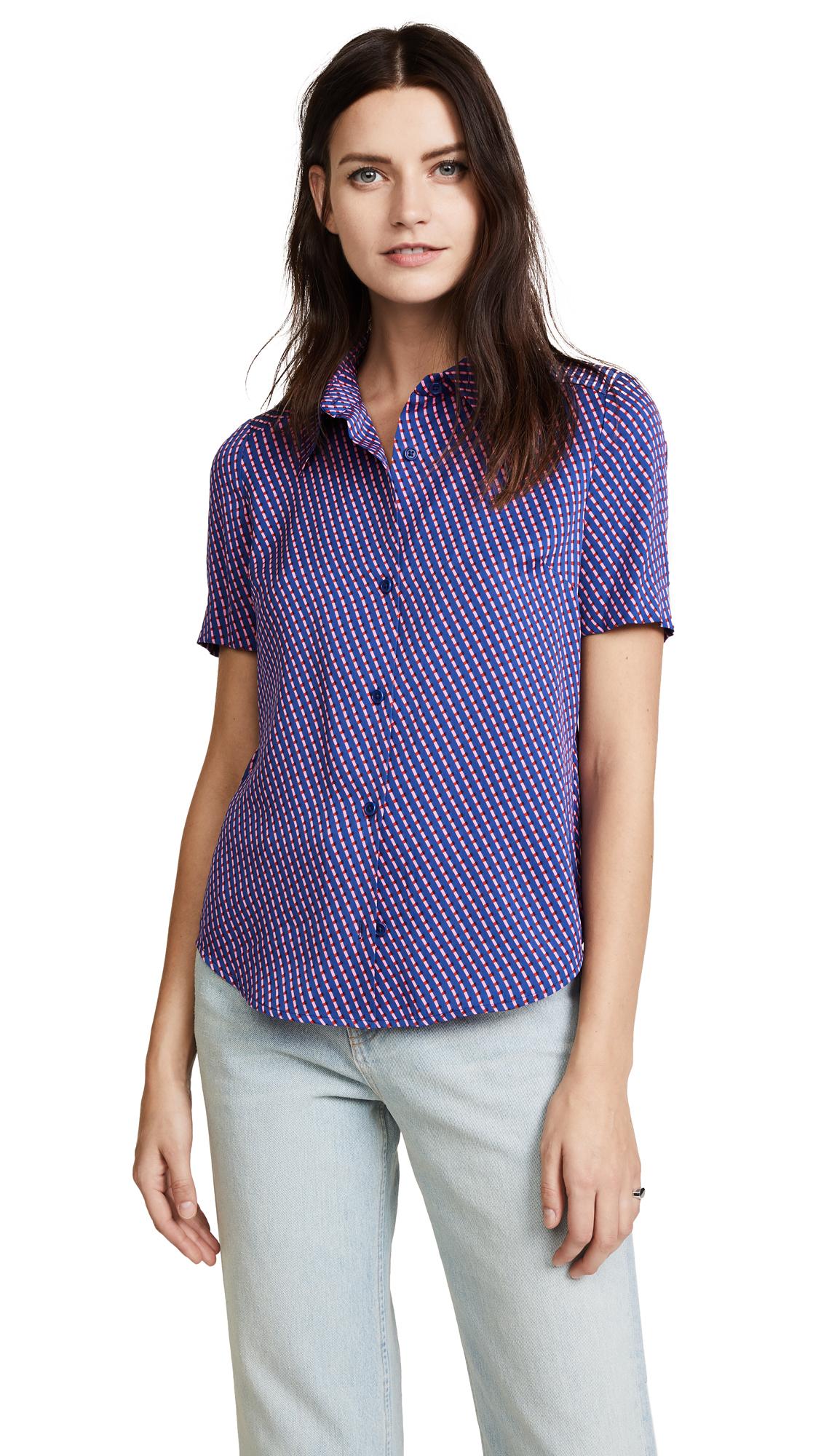 Diane von Furstenberg Short Sleeve Collar Shirt - Elba Royal