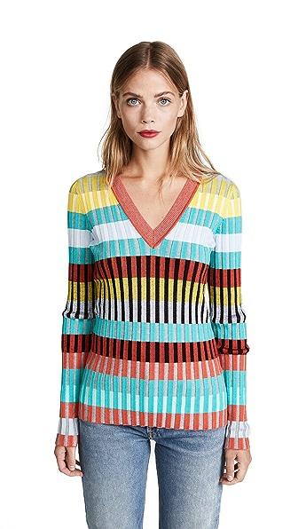 Diane von Furstenberg V Neck Pullover In Bright Red Combo