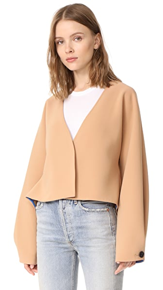 Diane von Furstenberg Cropped Button Up Jacket - Camel