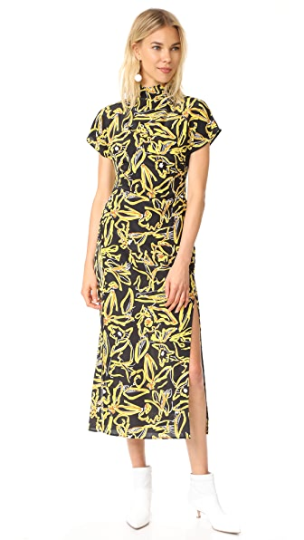 Diane von Furstenberg S / S Side Slit High Neck Dress - Elsden Black