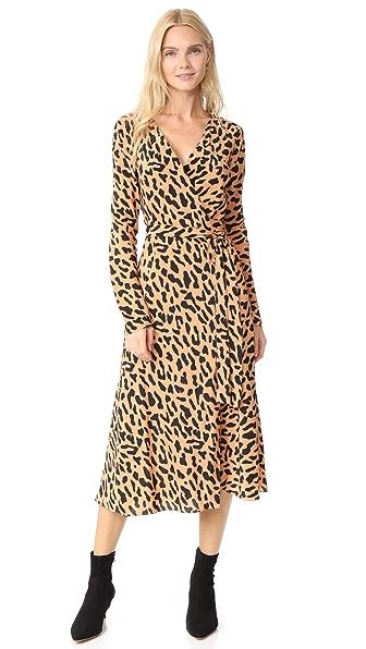 Diane von Furstenberg L / S Woven Wrap Dress In Belmont Camel