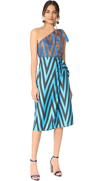 Diane von Furstenberg One Shoulder Knot Dress In Odeon Chv Sp/Od Chv T/Od Cv C
