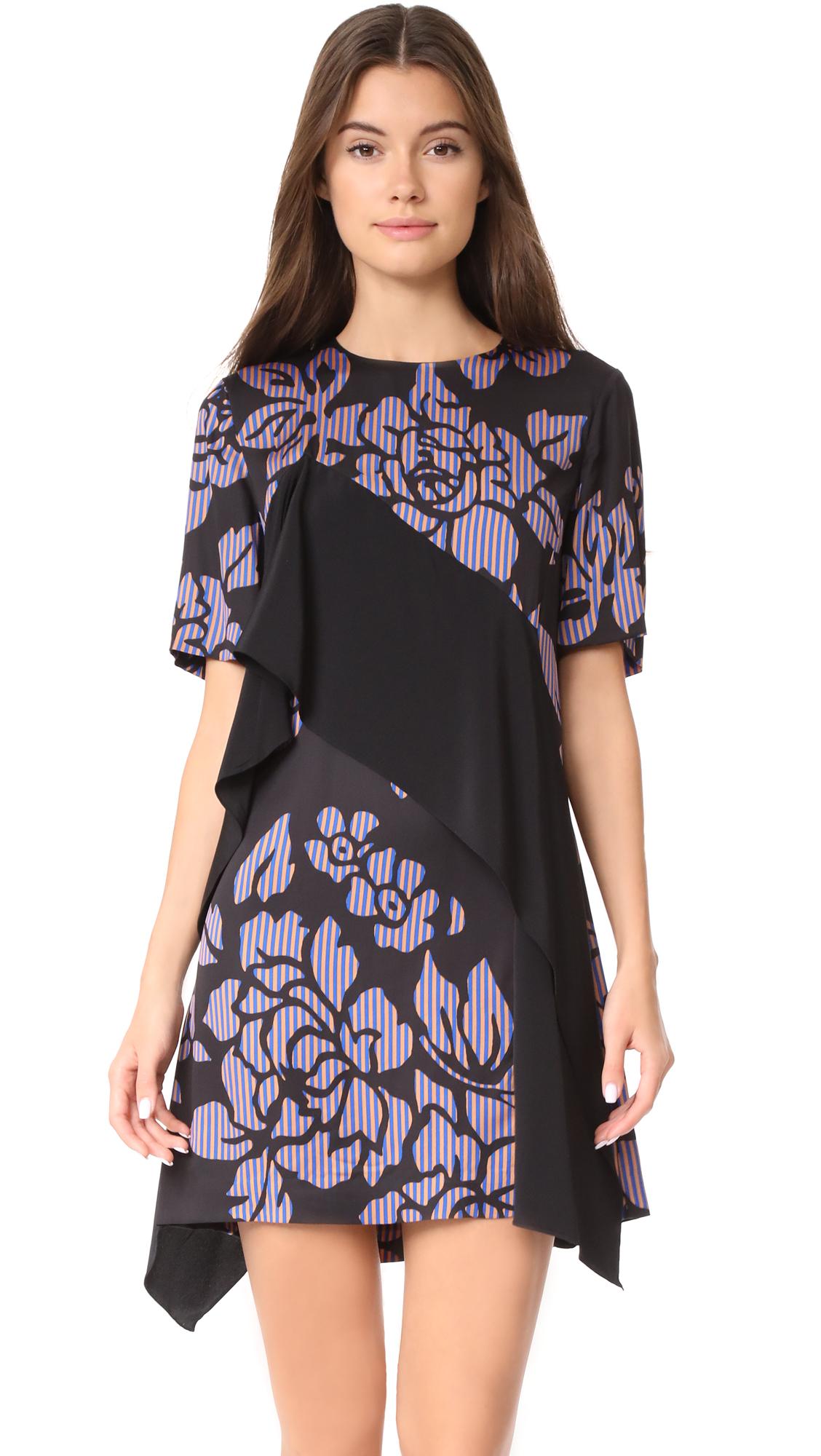 Diane von Furstenberg Short Sleeve Ruffle Front Mini Dress - Bennett Black/Black