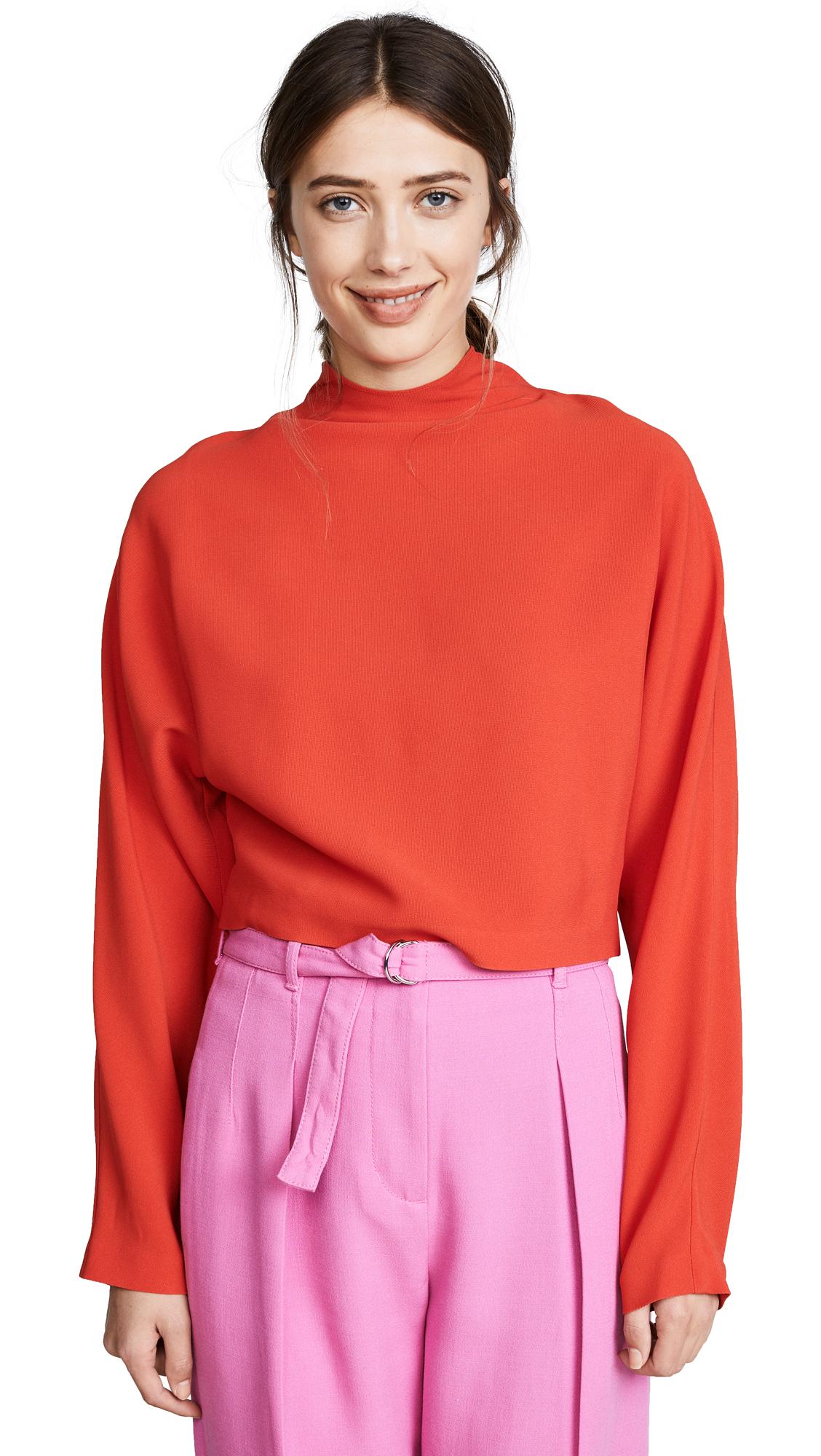 Diane von Furstenberg Raglan High Neck Blouse - Bright Red