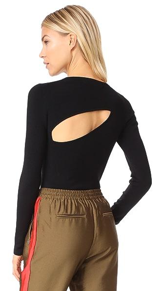 Diane von Furstenberg Crew Neck Fitted Pullover - Black
