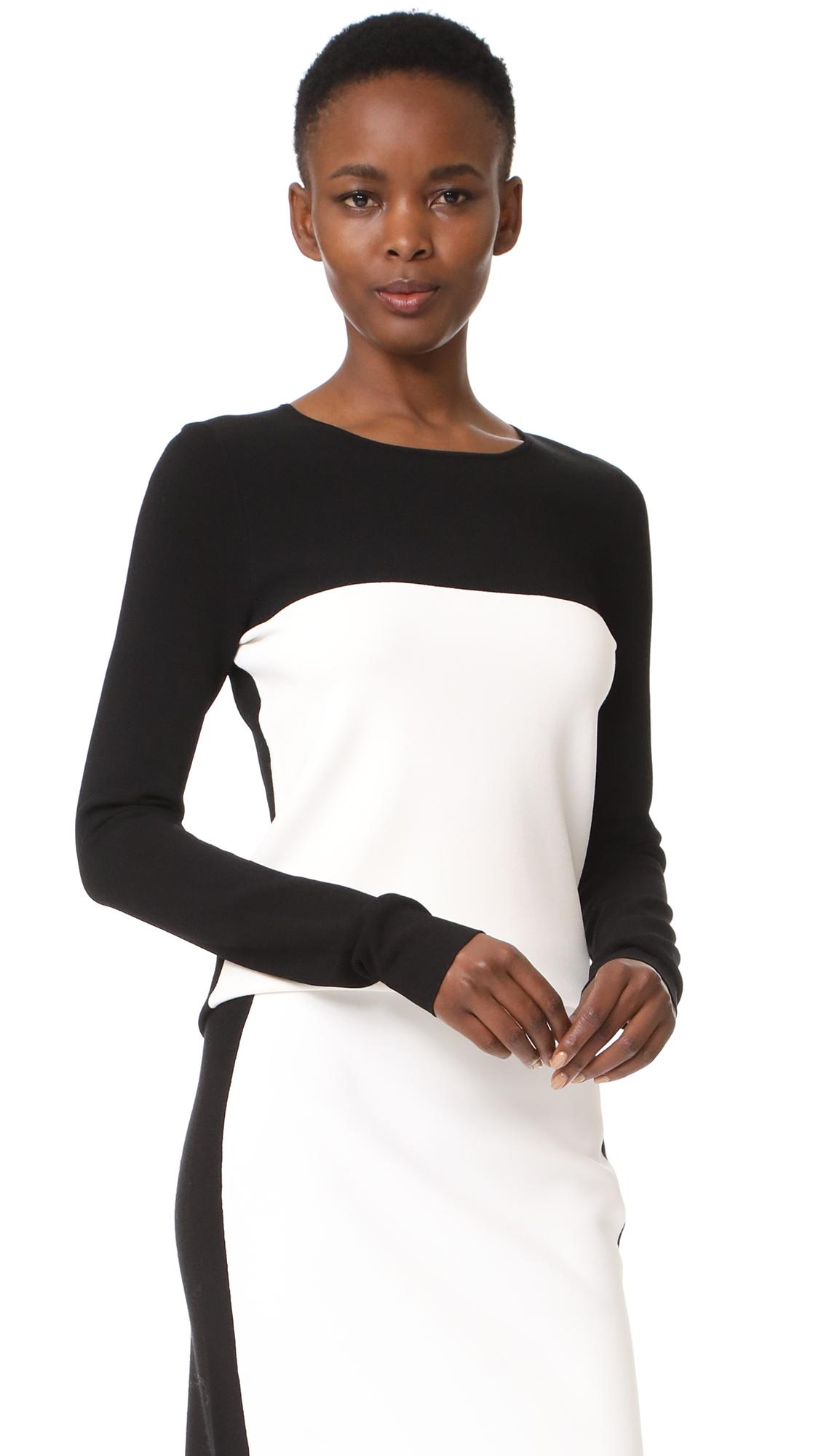 Diane von Furstenberg Colorblock Fitted Pullover - Black/Ivory
