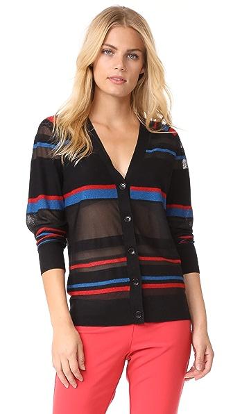 Diane von Furstenberg V Neck Button Down Cardigan In Black Multi