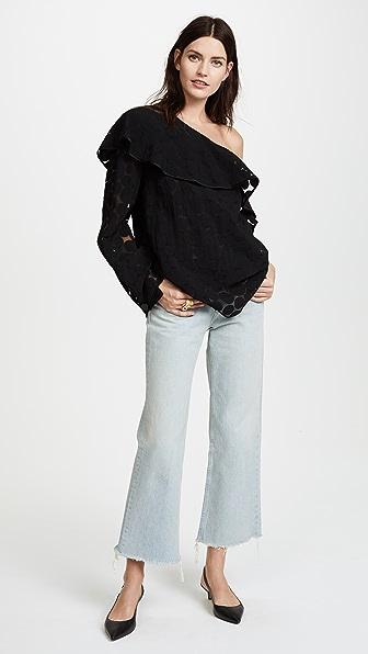 Diane von Furstenberg One Shoulder Ruffle Front Top